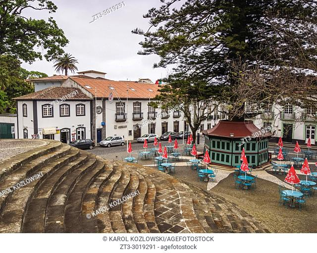 Town Square near Carmo Church, Angra do Heroismo, Terceira Island, Azores, Portugal