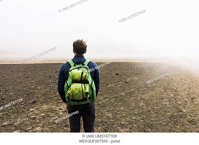 New Zealand, Tongariro National Park, back view of man with backpack