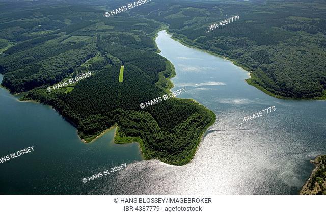 Aerial photograph of reservoir, Wehebachtalsperre, Hürtgenwald, Rhineland, North Rhine-Westphalia, Germany