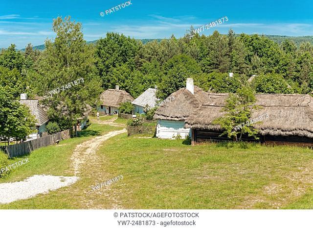Old village in Tokarnia open-air museum, Poland