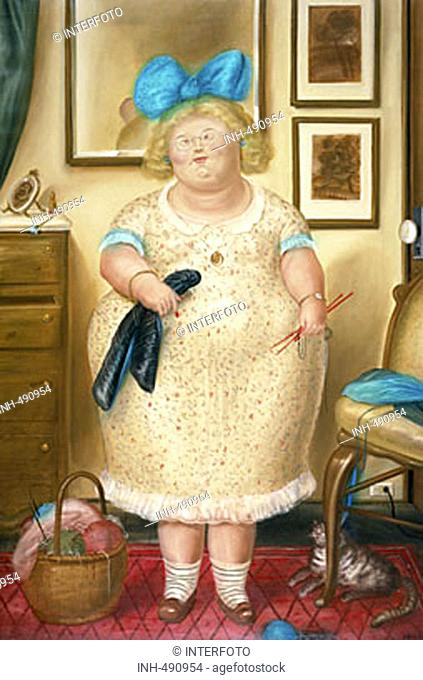 fine arts, Botero, Fernando, (* 1932), painting, 'the old spinster', 1974, oil on canvas, private property, South America, 20th century, woman, hair ribbon