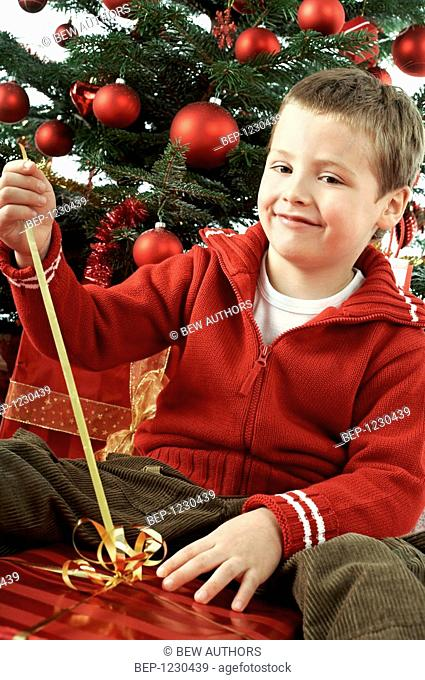 Little boy at christmas tree