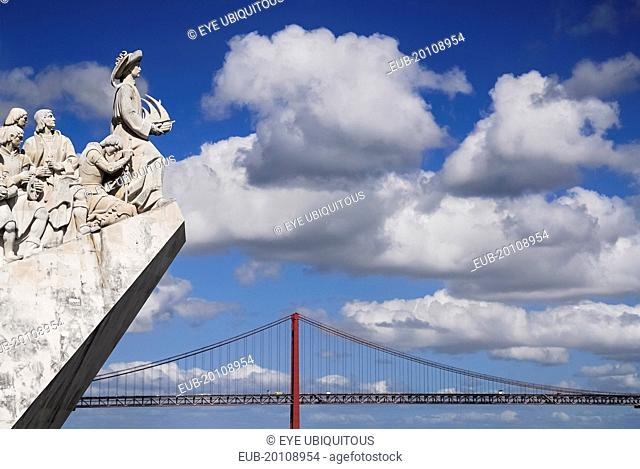 Padrao dos Descobrimentos Carving of Prince Henry the Navigator leading the Discoveries Monument with the Ponte 25th Abril Bridge behind