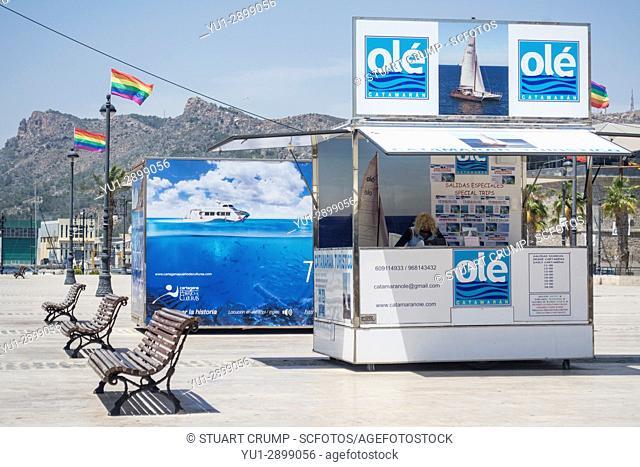 Ole catamaran ticket office on the harbour of Cartagena in Murcia Spain