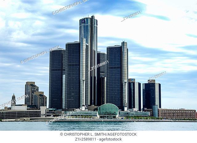 The Renaissance Center along the International Riverfront, as seen from Windsor, Canada