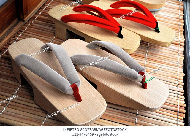 Kyoto (Japan): traditional Pokkuri flip-flops for geishas sold in a shop in Gion