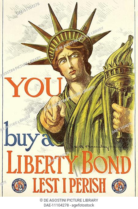 You buy a liberty bond, 1917, propaganda poster for war bonds, by Charles Raymond Macauley, World War I, United States, 20th century