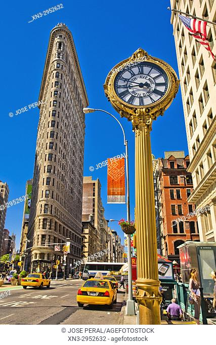 Clock and Flatiron Building, Fifth Avenue, Midtown, Manhattan, New York, New York City, United States, USA