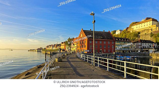 Meersburg at Lake Constance, Germany, view of the water front and marina