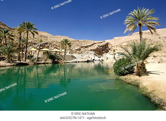 The turquoise pools of Wadi Bani Khalid in the eastern Hajar mountains Al Hajar ash sharq of the sultanate of Oman
