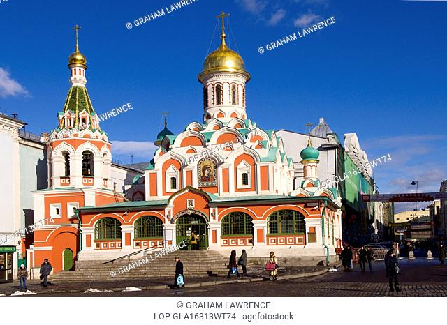 Russia, Moscow Oblast, Moscow. A view of Kazansky Cathedral in Red Square