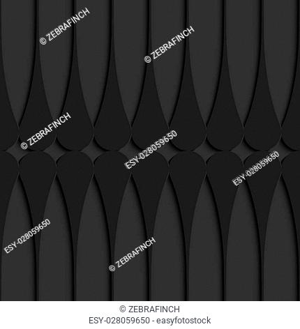 Black 3D seamless background. Dark pattern with realistic shadow.Black 3d horizontal Juggling clubs touching