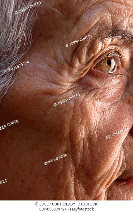 Extreme close-up of a senior woman's face