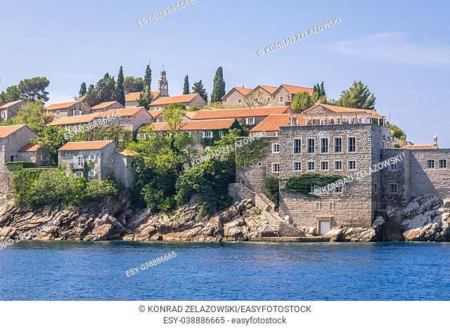Close up on Sveti Stefan islet and five star Aman Sveti Stefan hotel resort on the Adriatic coast of Montenegro