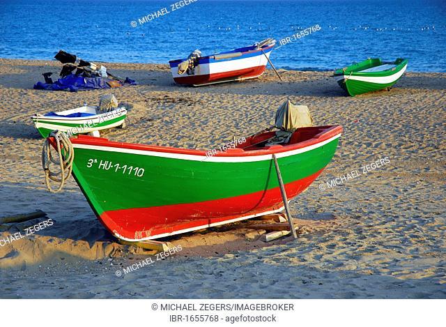 Beach of the Atlantic Ocean, boats on the beach , fishing village La Antilla, Lepe, Costa de la Luz, Huelva, Andalusia, Andalucia, Spain, Europe