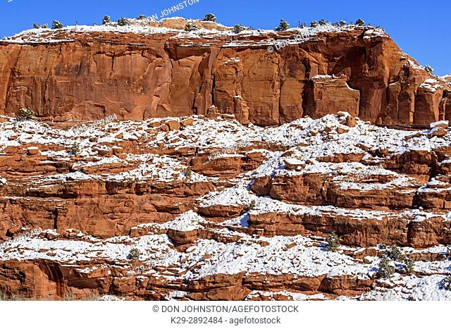 Fresh snow on the sandstones and junipers, Grand Staircase Escalante National Monument, Utah, USA