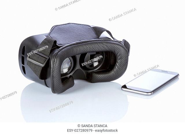 VR Glasses and smartphone with clipping path for screen isolated on white background