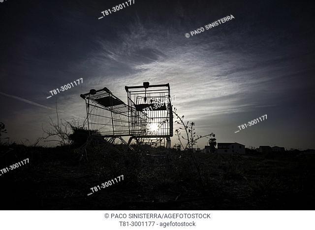 abandoned shopping carts. Valencia, Spain