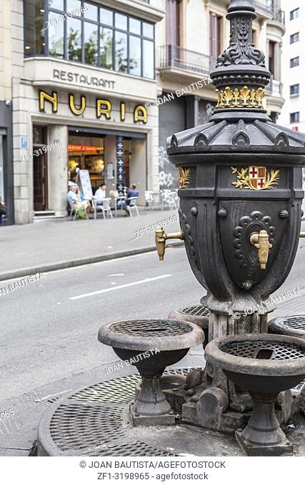 La Rambla, fountain, Font de Canaletes, popular meeting point. Barcelona