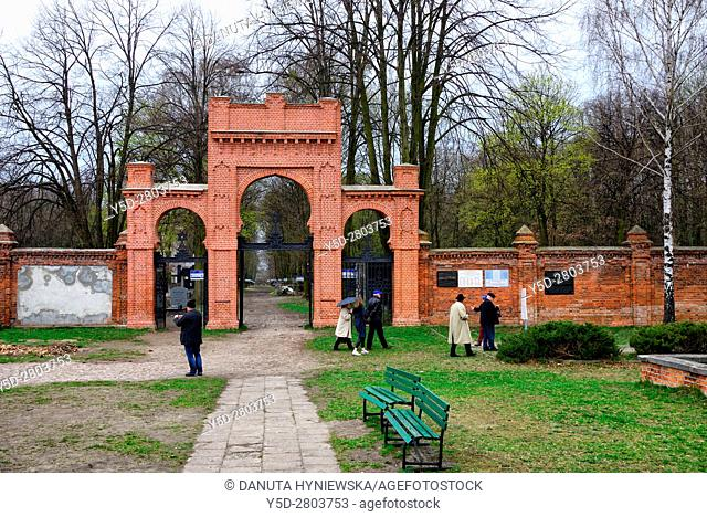 entrance to Jewish Cemetery on Bracka street in Lodz, this biggest Jewish cemetery in Europe contains over 180 000 graves and 65 000 tombstones