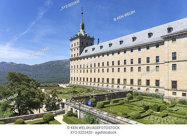 San Lorenzo de El Escorial, Madrid Province, Spain. The monastery of El Escorial. The monastery and its historic surroundings are a UNESCO World Heritage Site