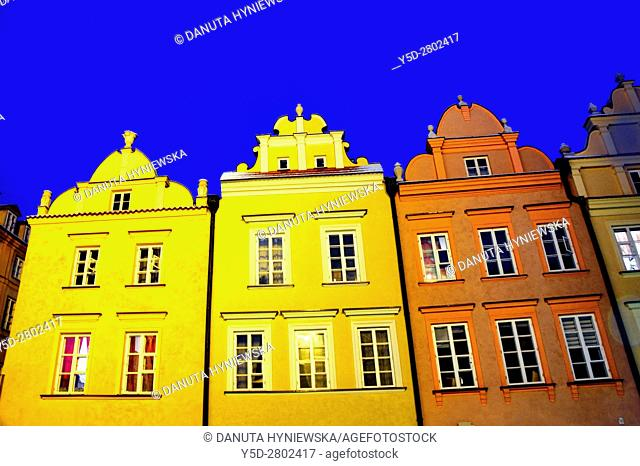 facades of townhouses, Kanonia Street, Kanonia square, Old Town - UNESCO World Heritage Site, Warsaw , Poland, Europe