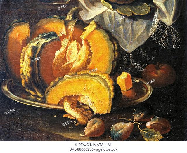 Christian Berentz (1658-1722), Still Life. Detail: a pumpkin.  Florence, Museo Bardini (Art And Arts And Crafts Museum)