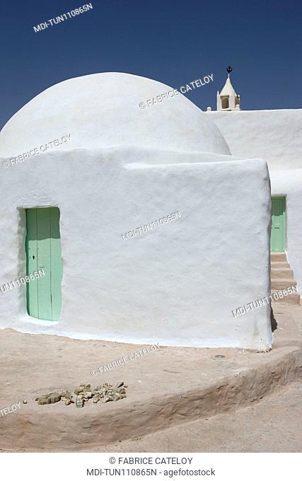 Tunisia - Chenini - Close shot of the mosque on top of the village