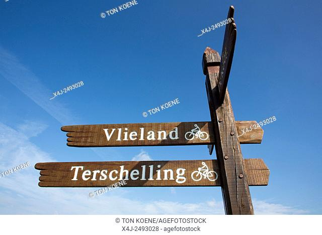 destination-board at the Dutch island Texel