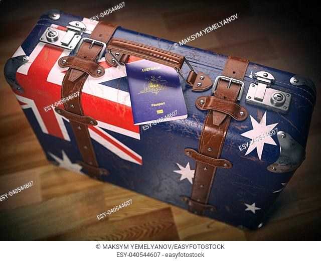 Passport of Australia and suitcase with flag of Australia. Travel or immigration concept. 3d illustration