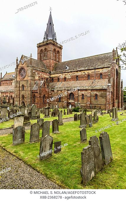 Exterior view of St. Magnus Cathedral in the city of Kirkwall, Mainland Island, Orkney Archipelago, Scotland