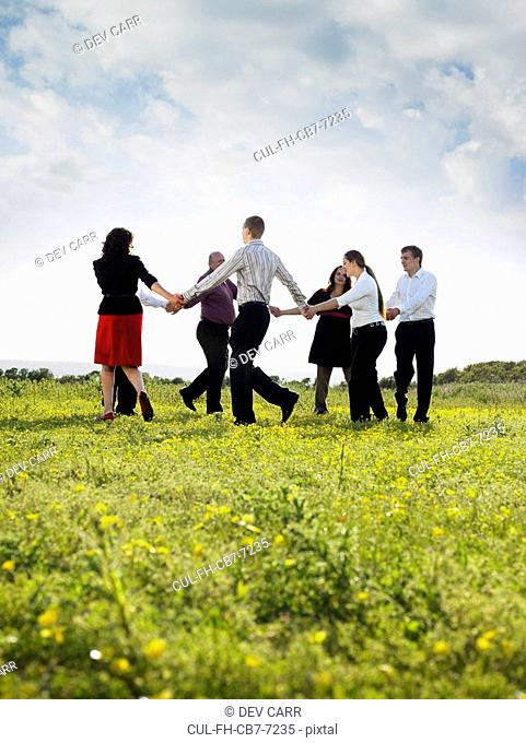 Group of businesspeople in a field