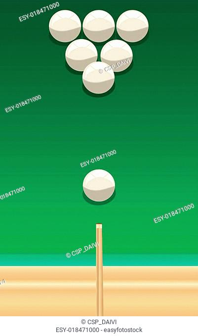 billiard cue and balls