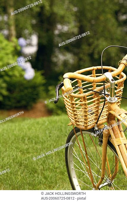 Close-up of a bicycle in a park