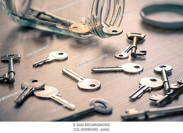 Glass jar with keys