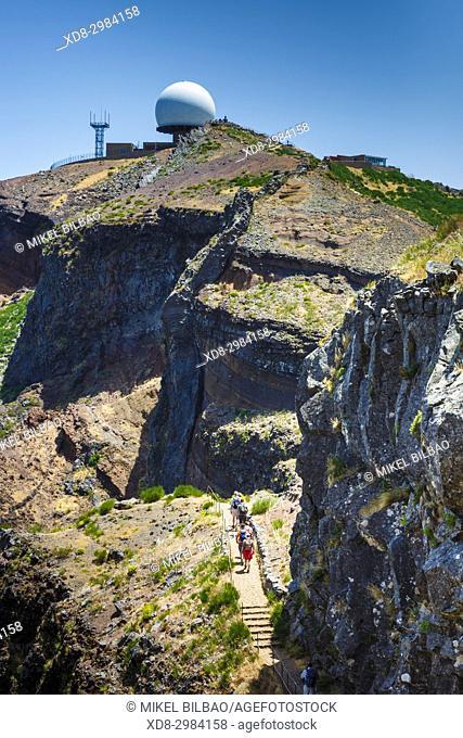Hikers and radar station. Pico do Arieiro. Madeira, Portugal, Europe