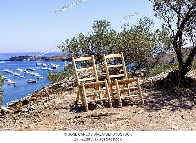 Pair of wicker chairs designed by Dali, Port Lligat, Cadaques, Girona province, Catalonia, Spain