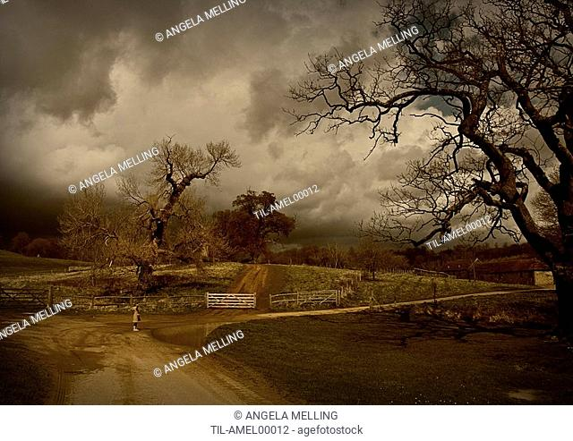 Stormy landscape featuring small child with outstretched arms in front of a puddle