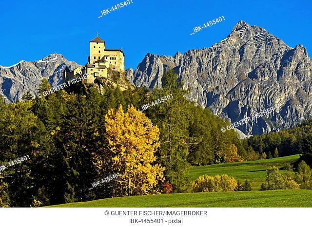 Autumn landscape with Tarasp Castle, Tarasp, Scuol, Lower Engadine, Grisons, Switzerland