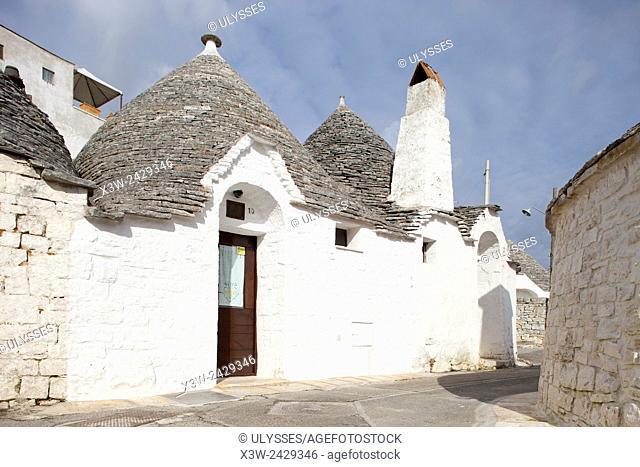 Trulli, Alberobello village, Rione Aia Piccola, province of Bari, Puglia, Italy, Europe