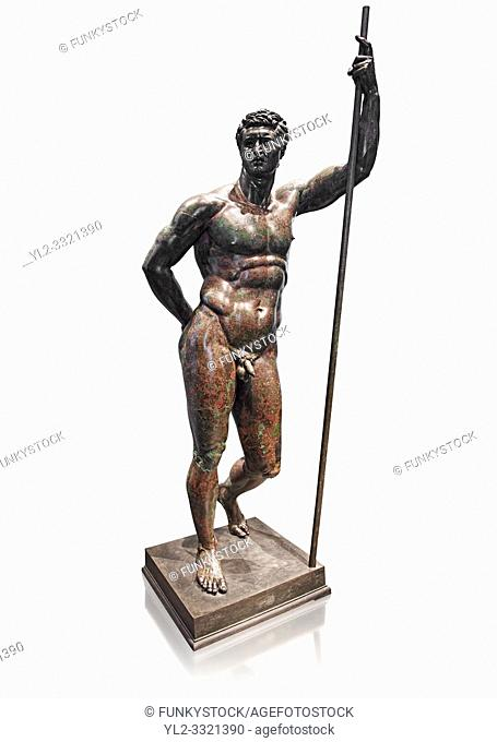 Rare Greek bronze statue known as the Hellenistic Prince, a 2nd cent BC Hellenistic bronze, one of the few in existence. The figure is leaning with its left arm...