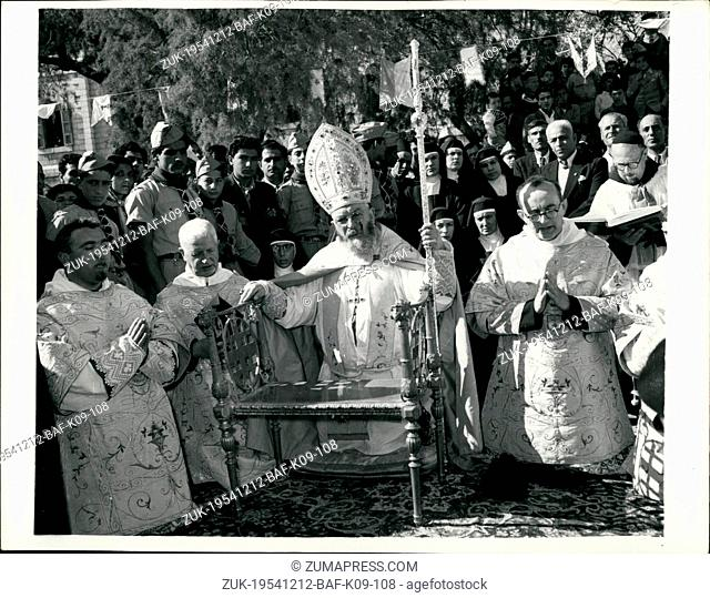 Dec. 12, 1954 - Laying the foundation stone for new 'Church of Annunciation for Nazareth': The Latin Patriarch Monsignor Alberto Gori recently visited Israel...