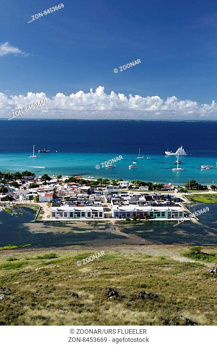 the village on the Gran Roque Island at the Los Roques Islands in the caribbean sea of Venezuela