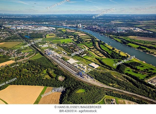 Logport III, logistics, Duisport, Rhine, Budberg, Container Terminal, transfer station, Duisburg, Ruhr district, North Rhine-Westphalia, Germany