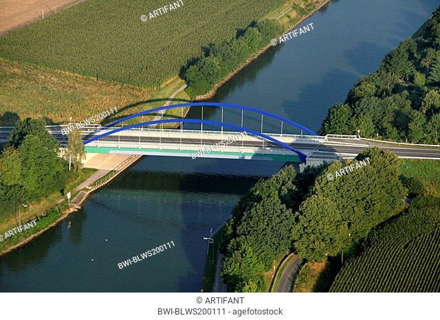 highway B 235 bridge over Datteln-Ems Canal, Germany, North Rhine-Westphalia, Ruhr Area, Datteln