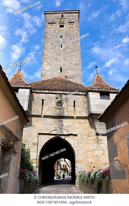 Castle Gate, Rothenburg ob der Tauber, district Ansbach, Franconia, Bavaria, Germany, Europe