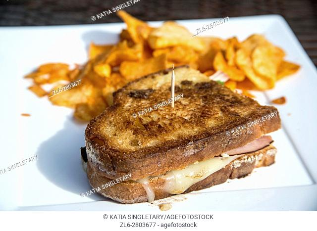 Toasted sourdough ham and cheese sandwich bread, grilled cheese sandwich, hold together by a topic and served with BBQ chips on a square white plate