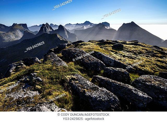 Mountain view from the summit of Branntuva (702), Moskenesøy, Lofoten Islands, Norway