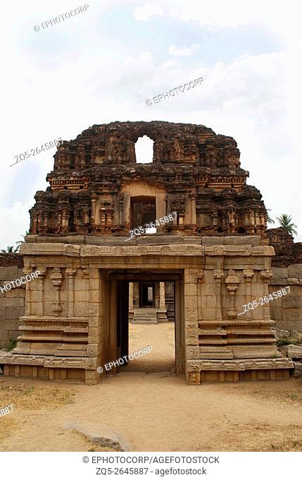 West side gopura, Achyuta Raya Temple, Hampi, Karnataka, India. Sacred Center