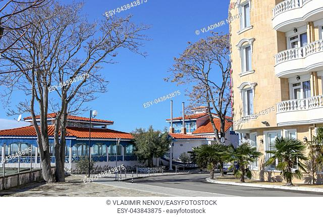 Pomorie, Bulgaria - Februari 01, 2019: View from the town of Pomorie, Bulgaria